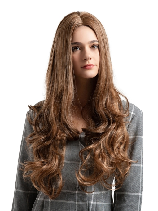 Wavy Long Brown Synthetic Hair Capless Wigs 26 Inches