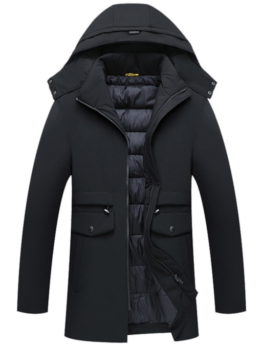 Straight Mid-Length Thick Stand Collar Zipper Men's Down Jacket