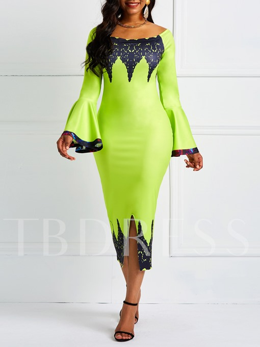Long Sleeve Slash Neck Lace Pullover Women's Bodycon Dress