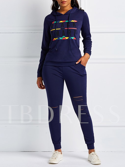 Casual Hoodie Hole Pencil Pants Women's Two Piece Sets