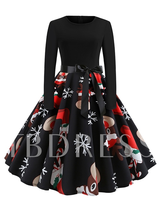 Christmas Patchwork Expansion Women's Long Sleeve Dress