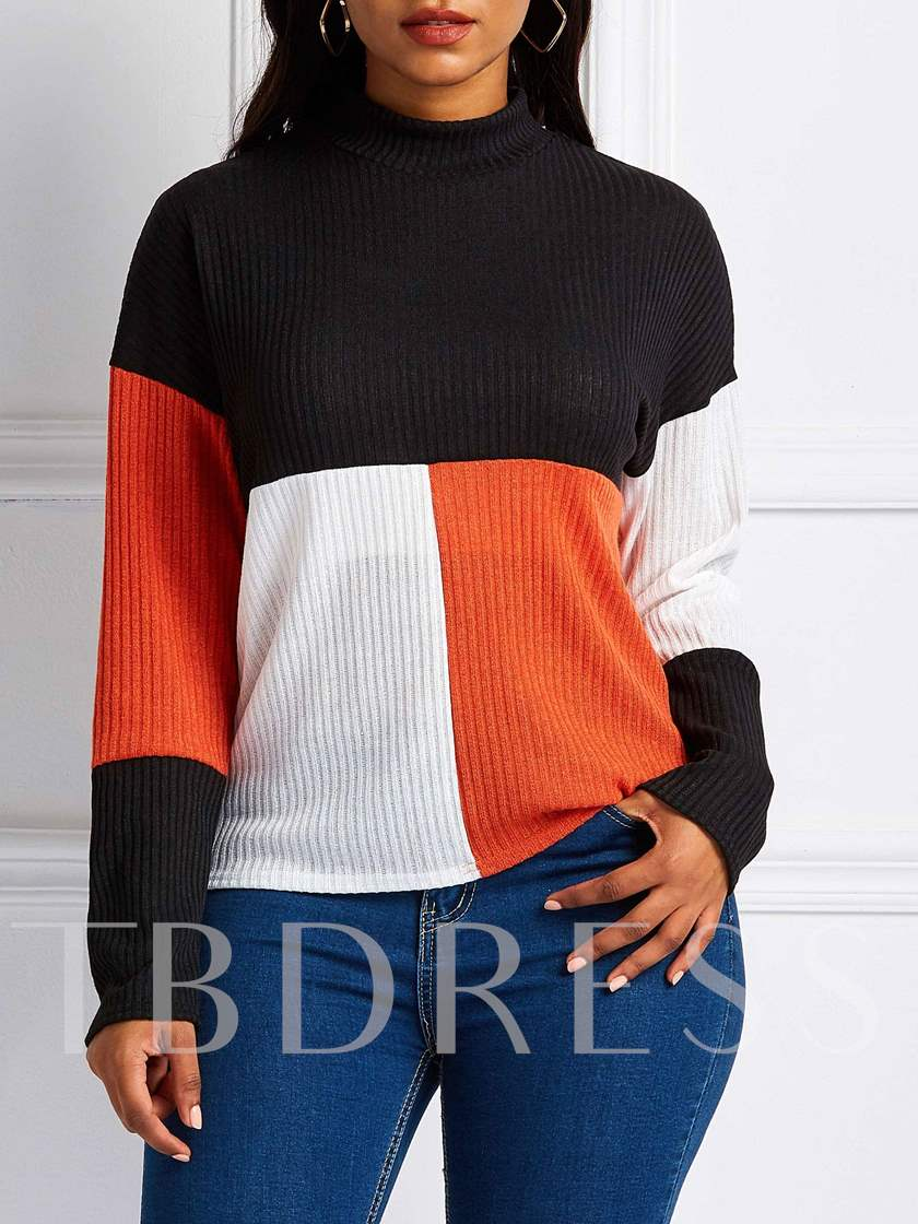 Stand Collar Color Block Slim Women's Sweater