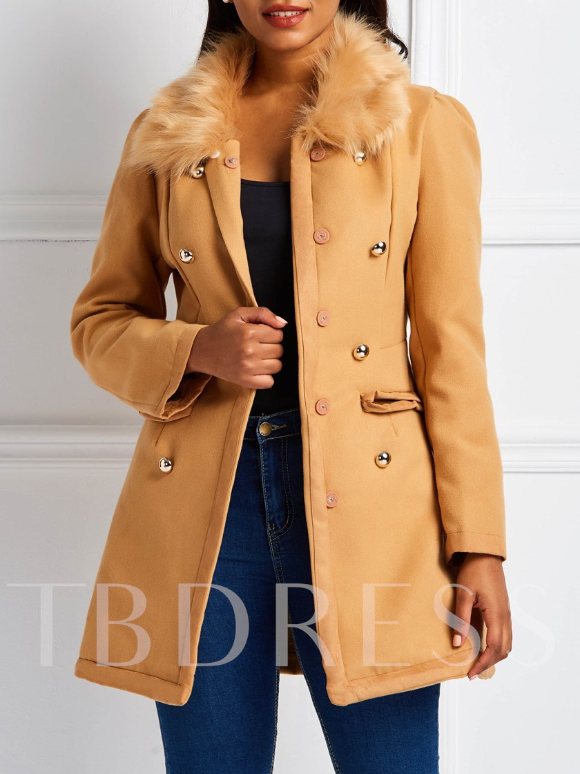 Faux Fur Collar Double-Breasted Plain Winter Women's Overcoat