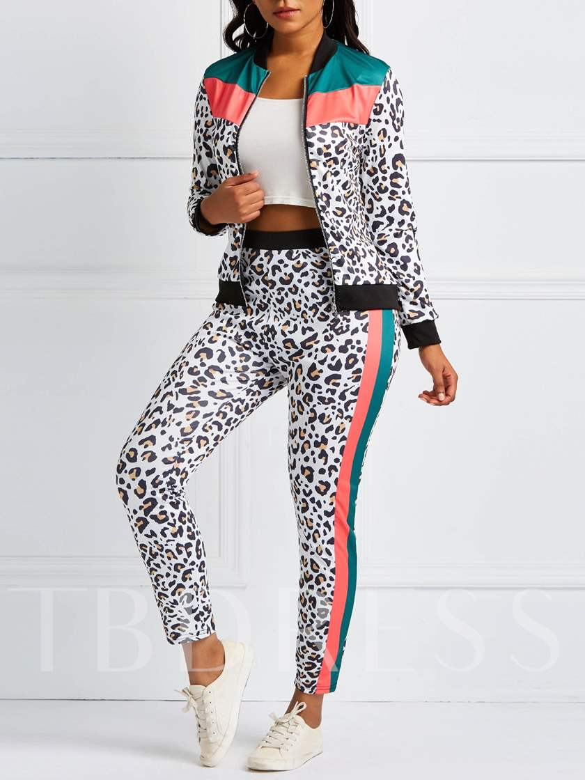 Print Coat Casual Color Block Zipper Women's Two Piece Sets