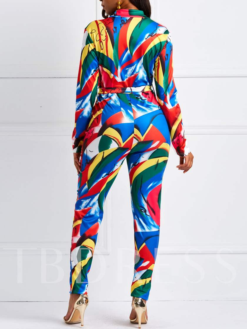 Color Block Print Slim Women's Jumpsuit