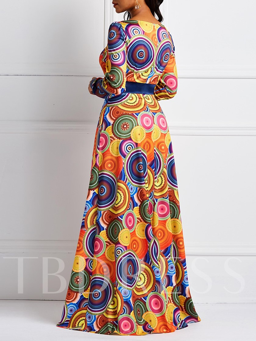 Long Sleeve Square Neck Print Women's Maxi Dress