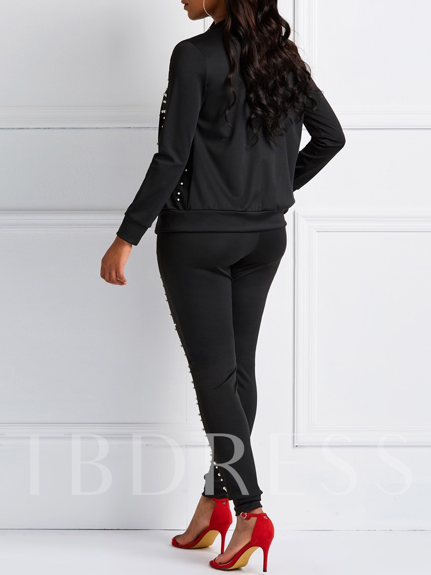 Casual Polka Dots Hoodie & Pants Women's Two Piece Sets