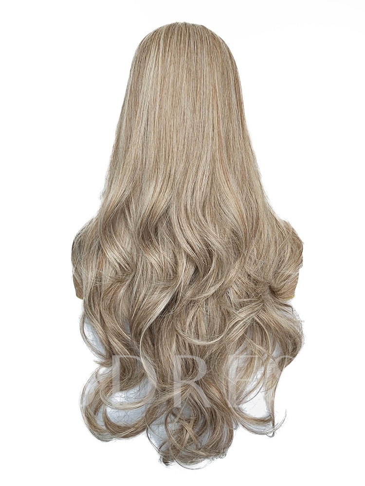 Curly Long Brown Synthetic Hair Capless Wigs 26 Inches