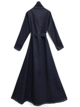 Stand Collar Single-Breasted Long Denim Women's Trench Coat