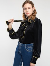Velvet Bowknot Single-Breasted Women's Shirt