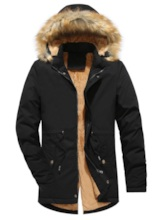 Stand Collar Plain Slim Mid-Length Hooded Plus Fur Men's Jacket