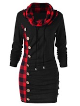 Plaid Patchwork Long Sleeve Women's Bodycon Dress