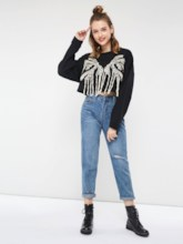 Slim Tassel Women's Cropped Sweatshirt