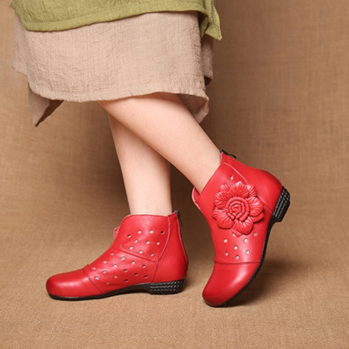 Floral Round Toe Back Zip Hollow Ethnic Style Women's Ankle Boots