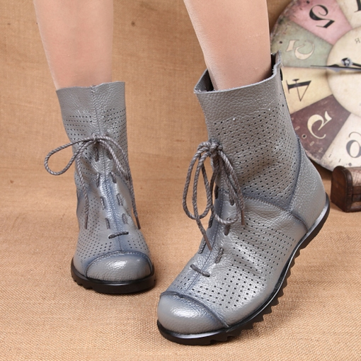Back Zip Plain Round Toe Hollow Ethnic Style Women's Ankle Boots