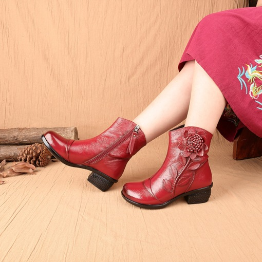 Chunky Heel Round Toe Side Zipper Plain Ethnic Style Ankle Boots