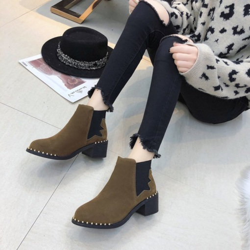 Patchwork Elastic Chunky Heel Round Toe Chelsea Ankle Boots