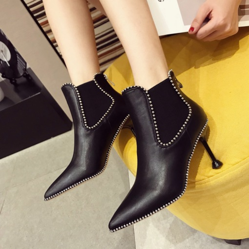 Pointed Toe Back Zip Patchwork Stiletto Heel Chelsea Ankle Boots
