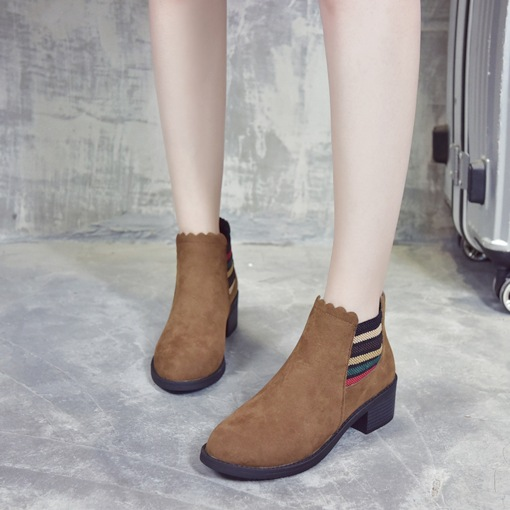 Round Toe Patchwork Elastic Chunky Heel Women's Chelsea Boots