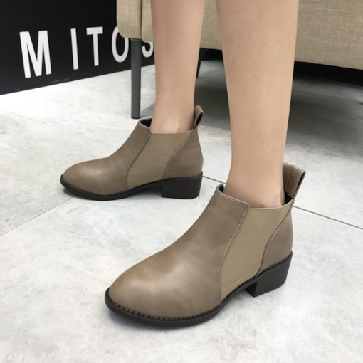 Round Toe Plain Elastic Chunky Heel Casual Women's Chelsea Ankle Boots