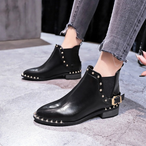 Plain Block Heel Round Toe Elastic Short Floss Chic Chelsea Boots