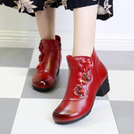 Side Zipper Round Toe Floral Chunky Heel Ethnic Style Ankle Boots