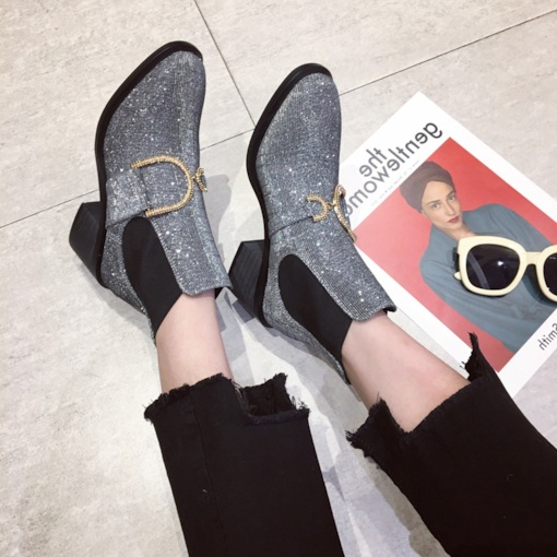 Elastic Round Toe Chunky Heel Patchwork Glitter Chelsea Ankle Boots
