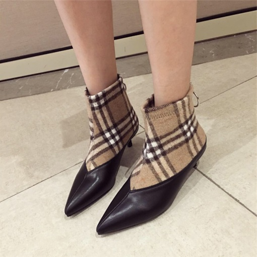 Stiletto Heel Pointed Toe Plaid Back Zip Patchwork Women's Ankle Boots