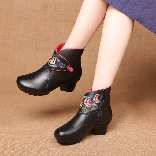 Chunky Heel Side Zipper Floral Embroidery Ethnic Style Ankle Boots