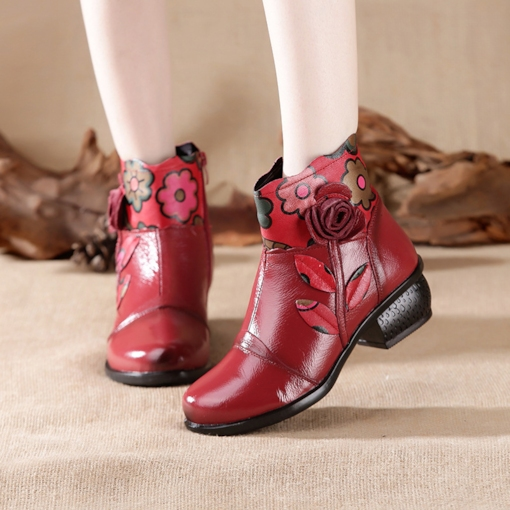 Floral Side Zipper Chunky Heel Round Toe Ethnic Style Ankle Boots