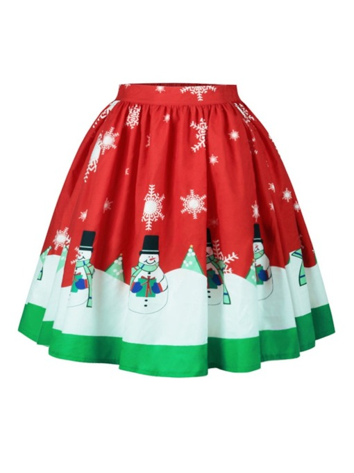 Christmas Expansion Mid-Calf Print High-Waist Women's Skirt