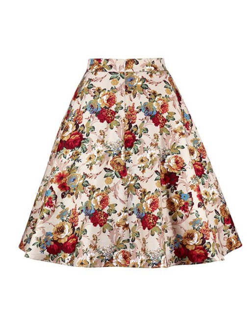 Christmas Expansion Print Knee-Length Floral Women's Skirt