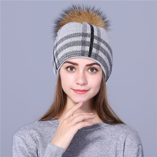 Plaid Pattern Wool Brimless Fall Winter Hats
