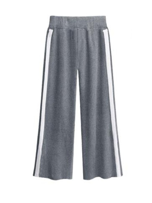Slim Plain Patchwork Wide Legs Women's Casual Pants