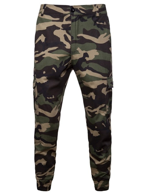 Camouflage Loose Mid-Waist Men's Casual Pants