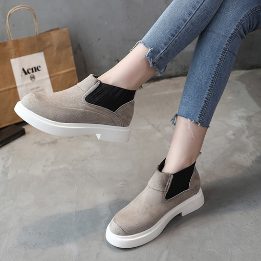 Block Heel Round Toe Elastic Plain Casual Chic Chelsea Ankle Boots