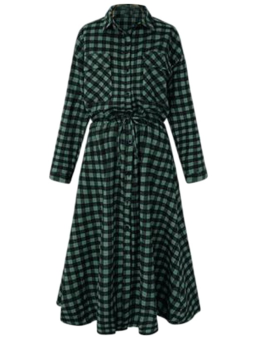 Plaid Button Single-Breasted Women's Long Sleeve Dress