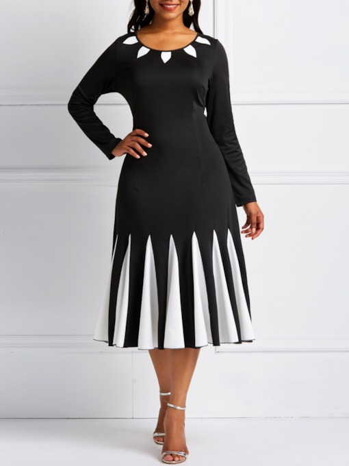 Patchwork Color Block A-Line Women's Long Sleeve Dress