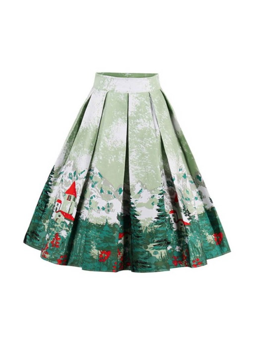Christmas Mid-Calf High-Waist A-Line Floral Print Women's Skirt