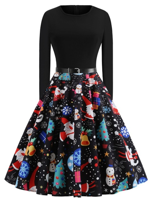 Patchwork Round Neck Prints Women's Long Sleeve Dress