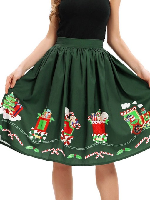 Christmas A-Line Cartoon Print High-Waist Women's Skirt