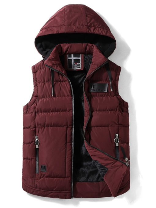 Plain Stand Collar Casual Men's Gilet