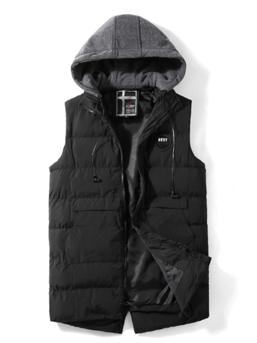 Christmas Thick Stand Collar Plain Hooded Men's Gilet