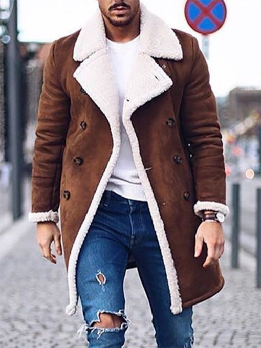 Mid-Length Straight Men's Coat