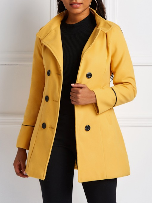 Slim Double-Breasted Stand Collar Women's Overcoat
