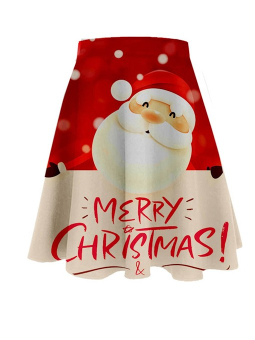 Christmas Print A-Line Knee-Length Cartoon Women's Skirt