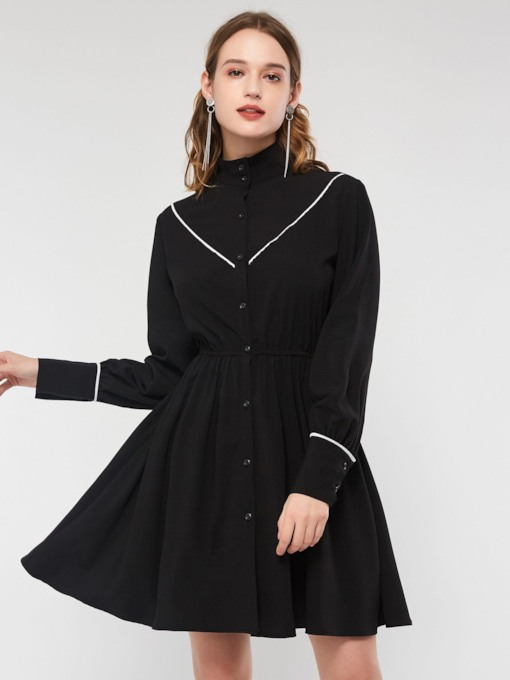 Patchwork Turtleneck Women's Long Sleeve Dress
