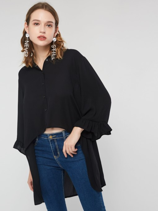 Chiffon Plain Asymmetric Mid-Length Women's Blouse