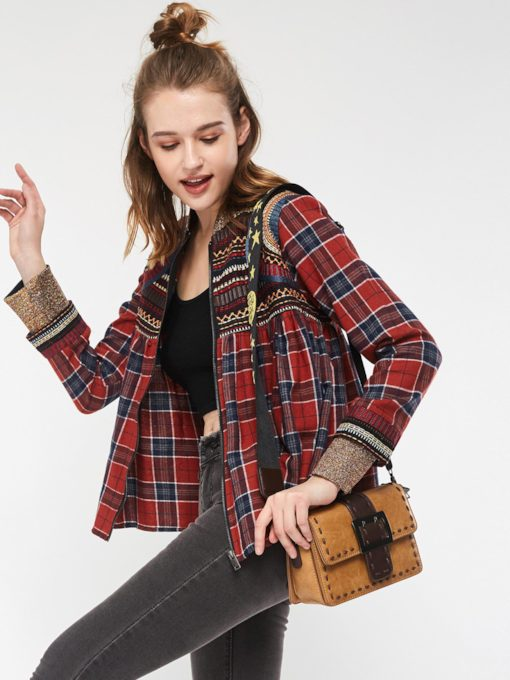 Color Block Rivet Embroideried Plaid Women's Shirt