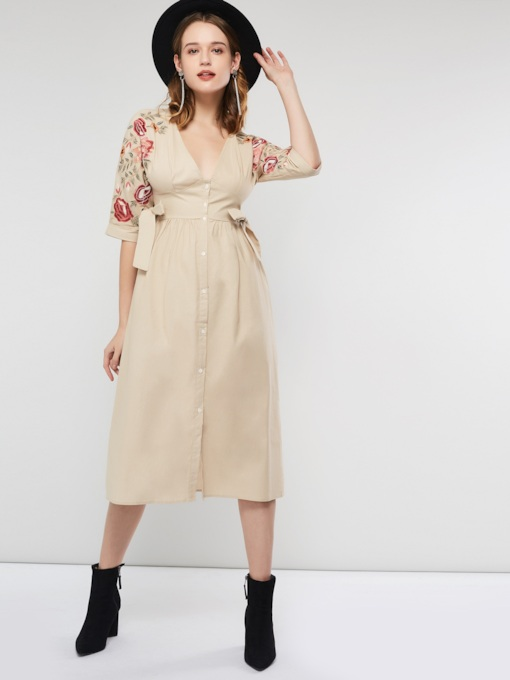Single-Breasted V-Neck Floral Women's Maxi Dress